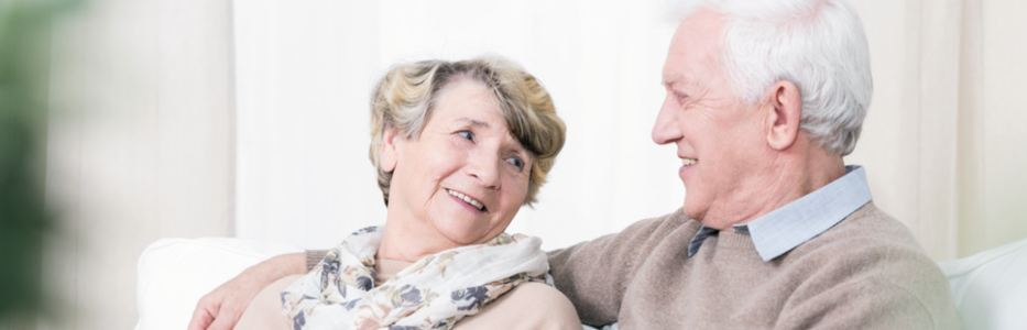 Elderly aged couple together in aged care / retirement village.